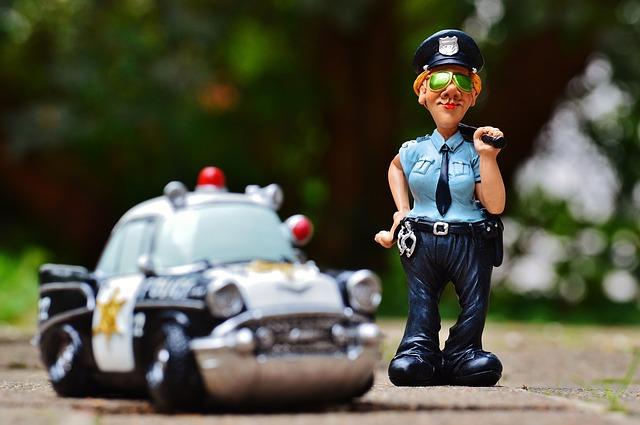 policistka a policejní auto